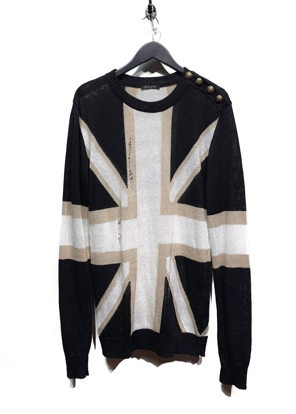 Balmain SS16 Black Union Jack Distressed Knit Sweater