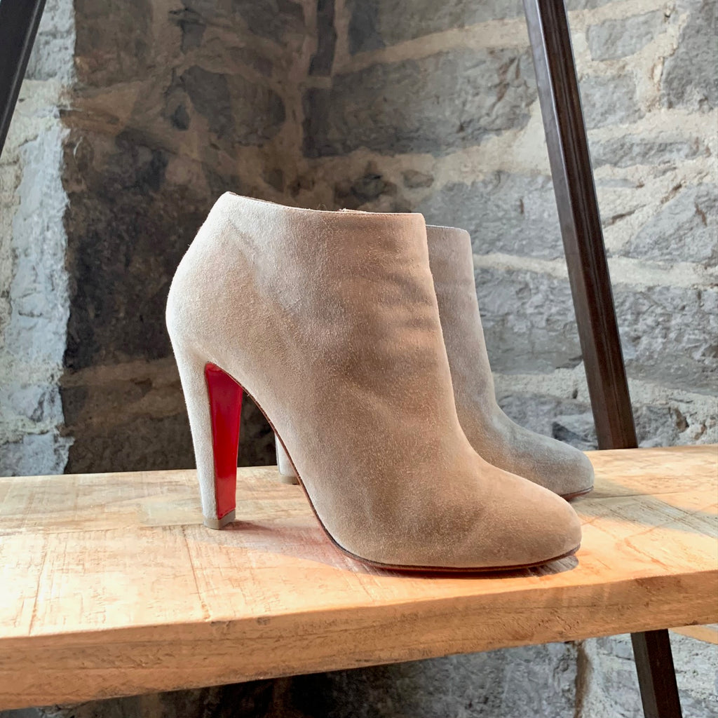 Christian Louboutin Grey Suede Belle Booties