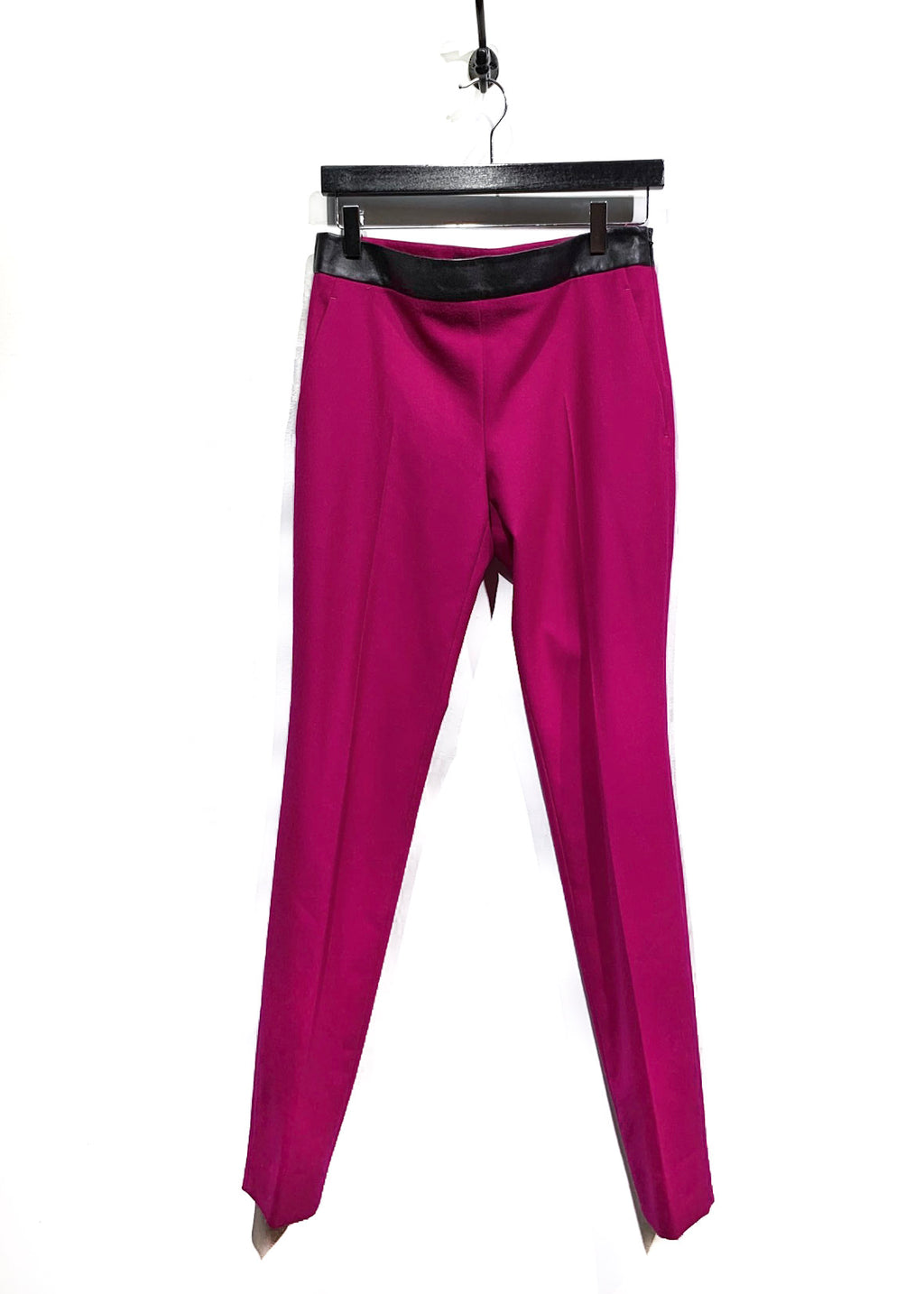 Gucci Fuschia Leather Waist Accent Straight Leg Pants