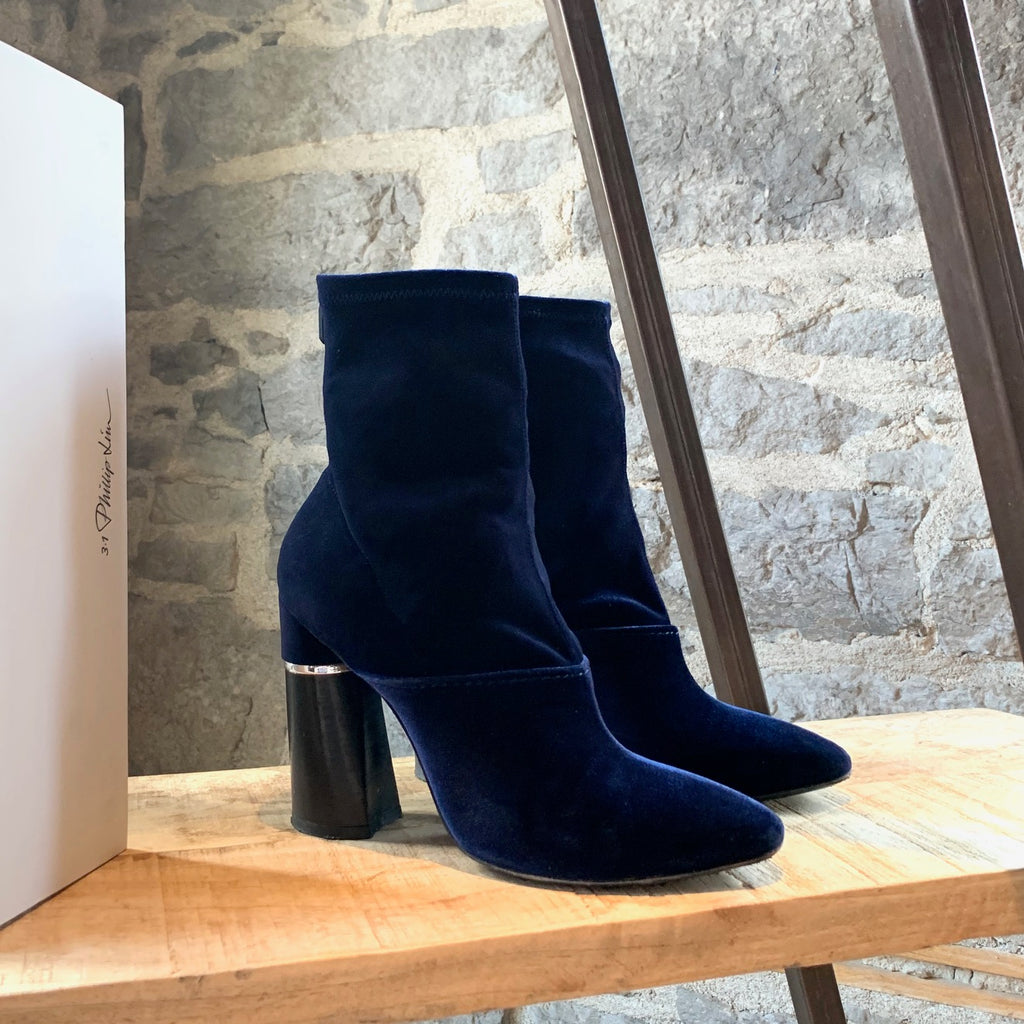 3.1 Phillip Lim Royal Blue Velvet Stretch Kyoto 105mm Boots