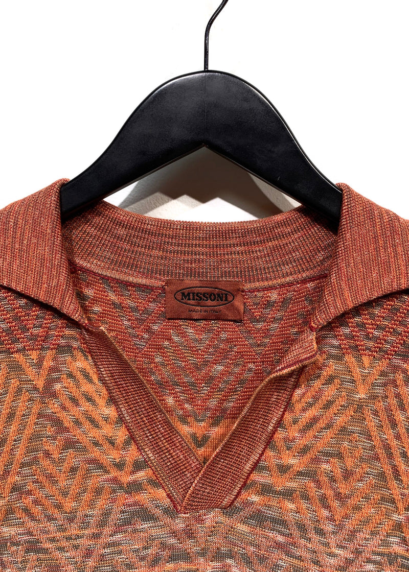 Missoni Orange Green Knitted Polo Shirt