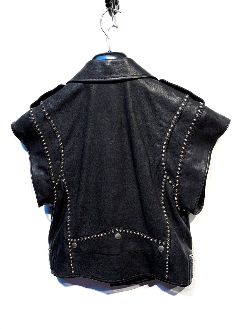 Saint Laurent Paris Leather Vest with Silver Hardware