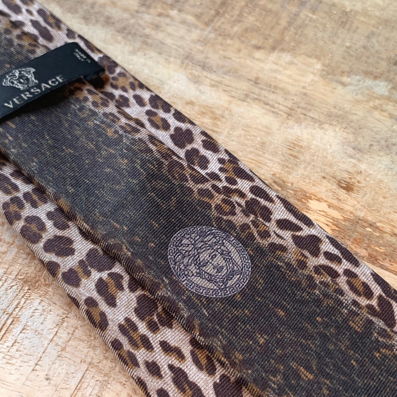 Versace Tan Leopard Crown Print Silk Tie