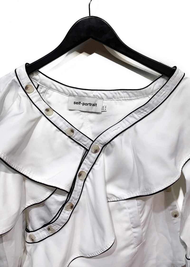 Self-Portrait White Asymmetrical Buttoned Ruffled Shirt