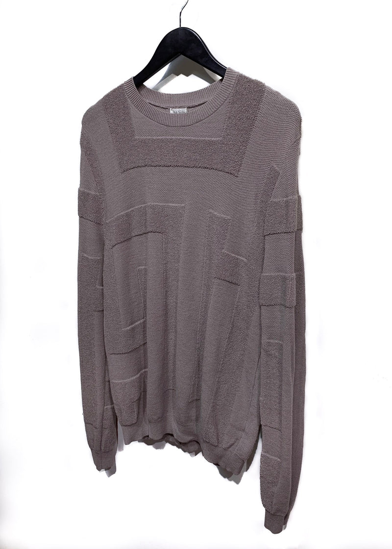 Paul Smith Taupe Terrycloth Patterned Knit Sweater