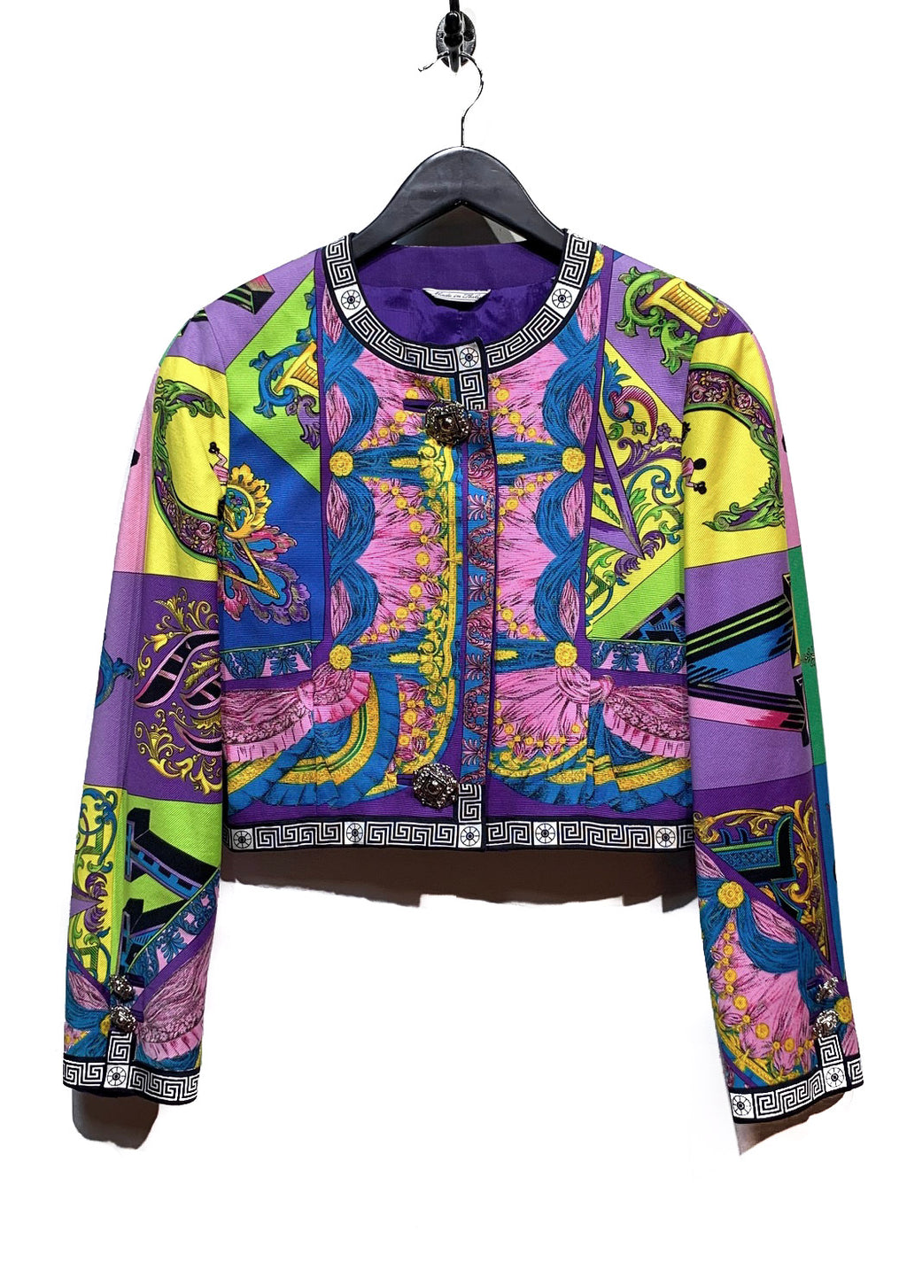 Versace Vintage Purple Multi-Prints Cropped Jacket