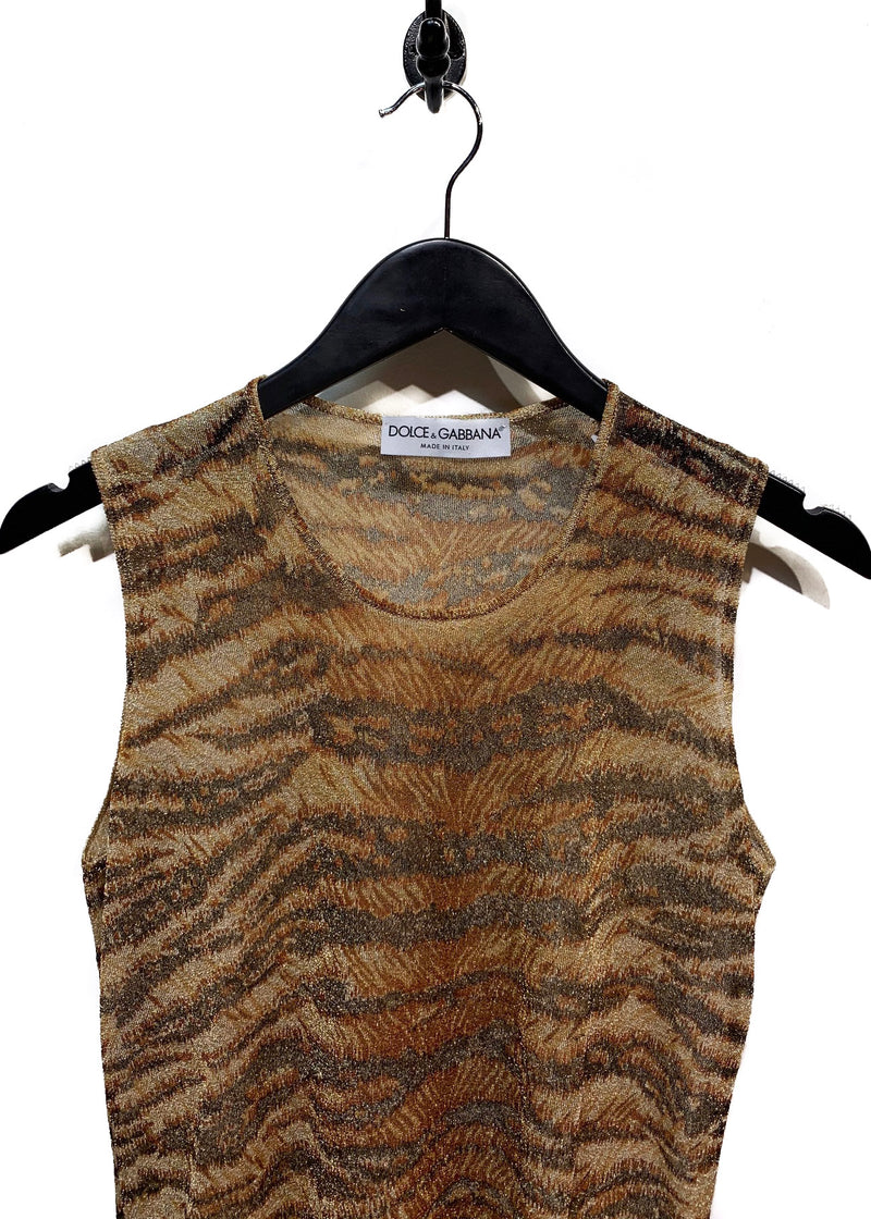 Dolce & Gabbana Tiger Lurex Tank Top