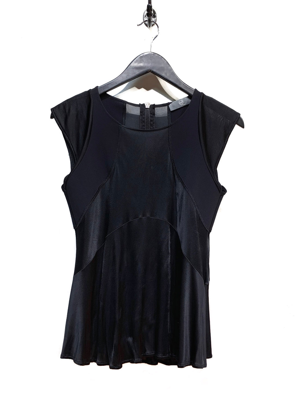 McQ Black Shiny Short Sleeve Blouse