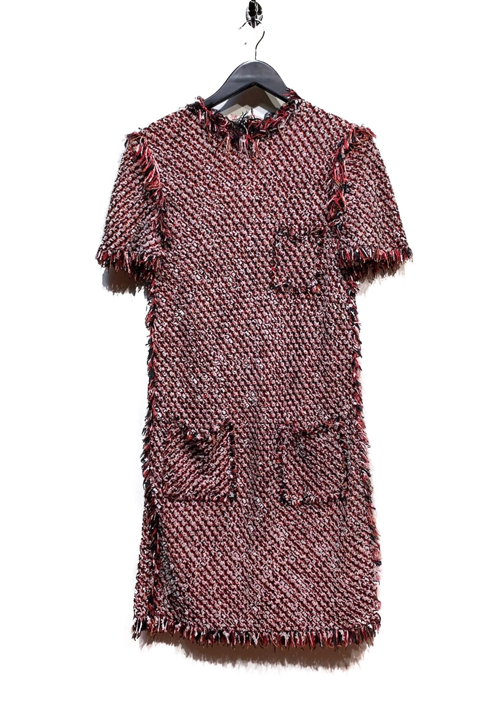 Lanvin Deconstructed Red Tweed Dress