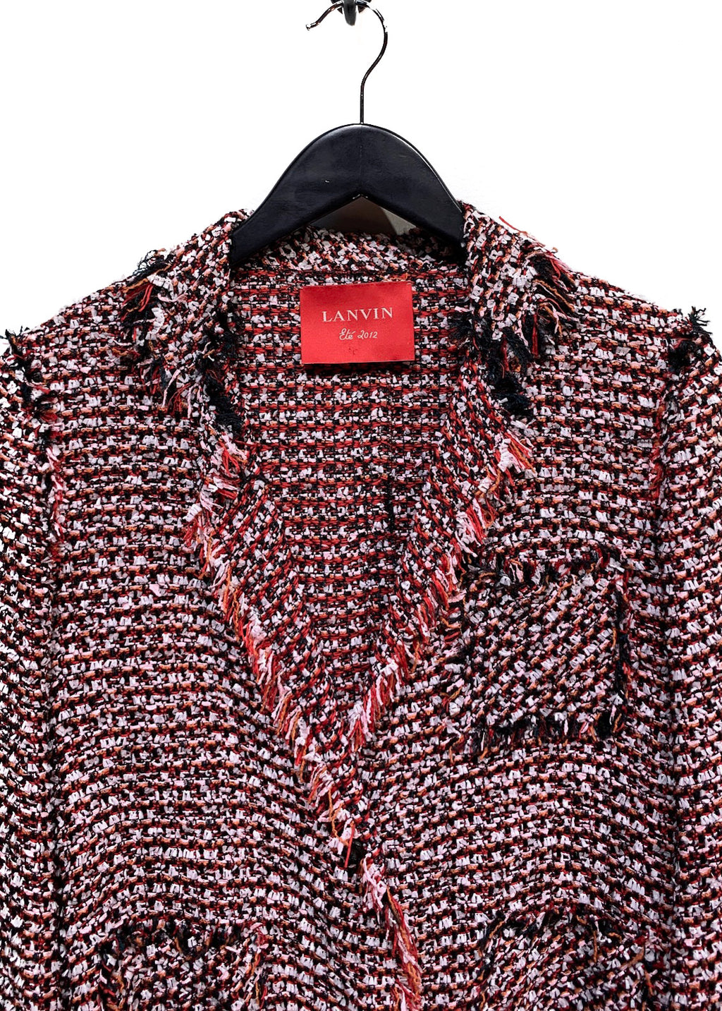 Lanvin Deconstructed Red Tweed Blazer