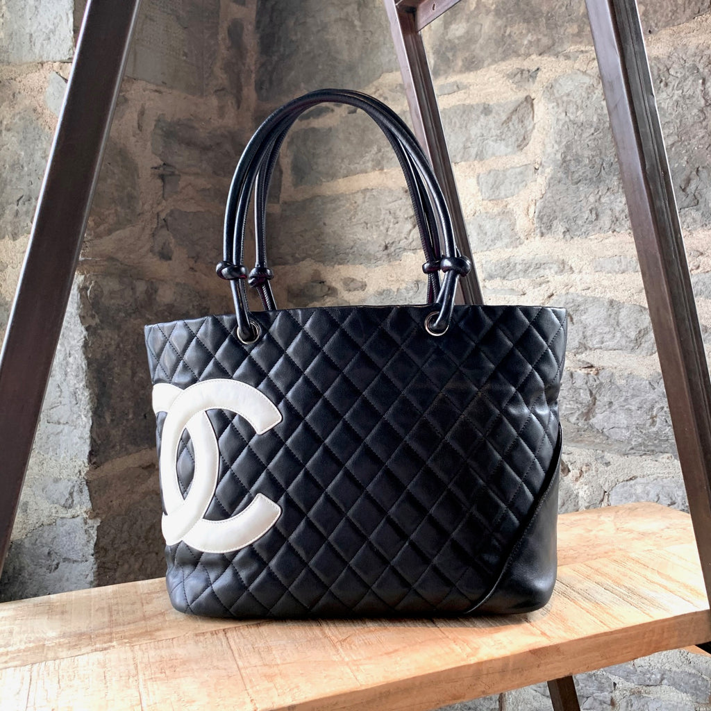 Chanel Black Quilted Leather Ligne Cambon Large CC Tote
