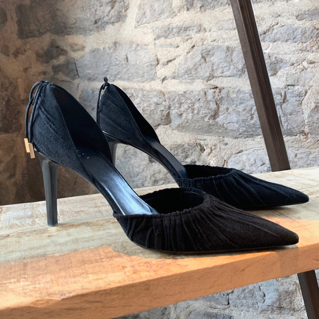 Gucci Black Suede D'orsay Pointy Pumps