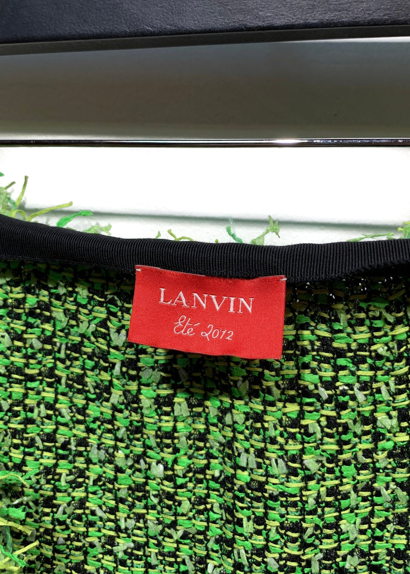 Lanvin Lime and Black Tweed Skirt