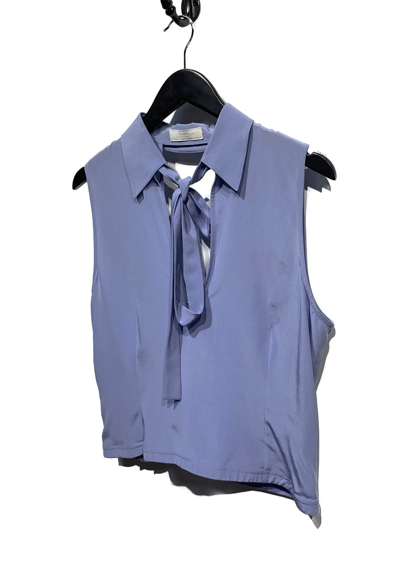 Prada Baby Blue Silk Opened Back Blouse