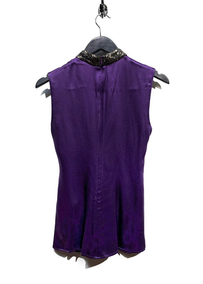 Etro Purple Satin Blouse with Embellished Collar
