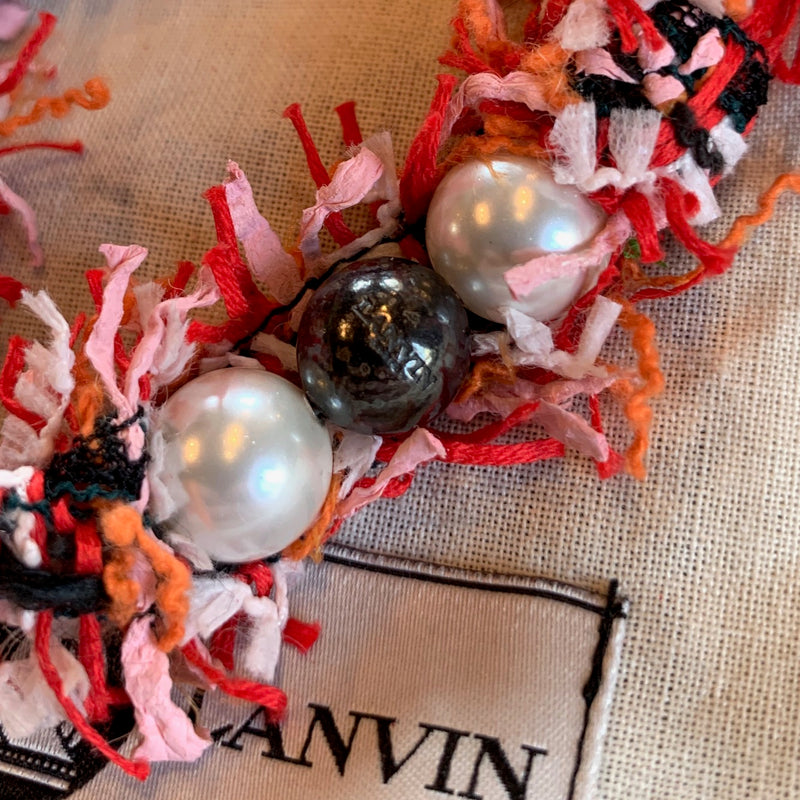 Lanvin Red Tweed and Pearl Necklace