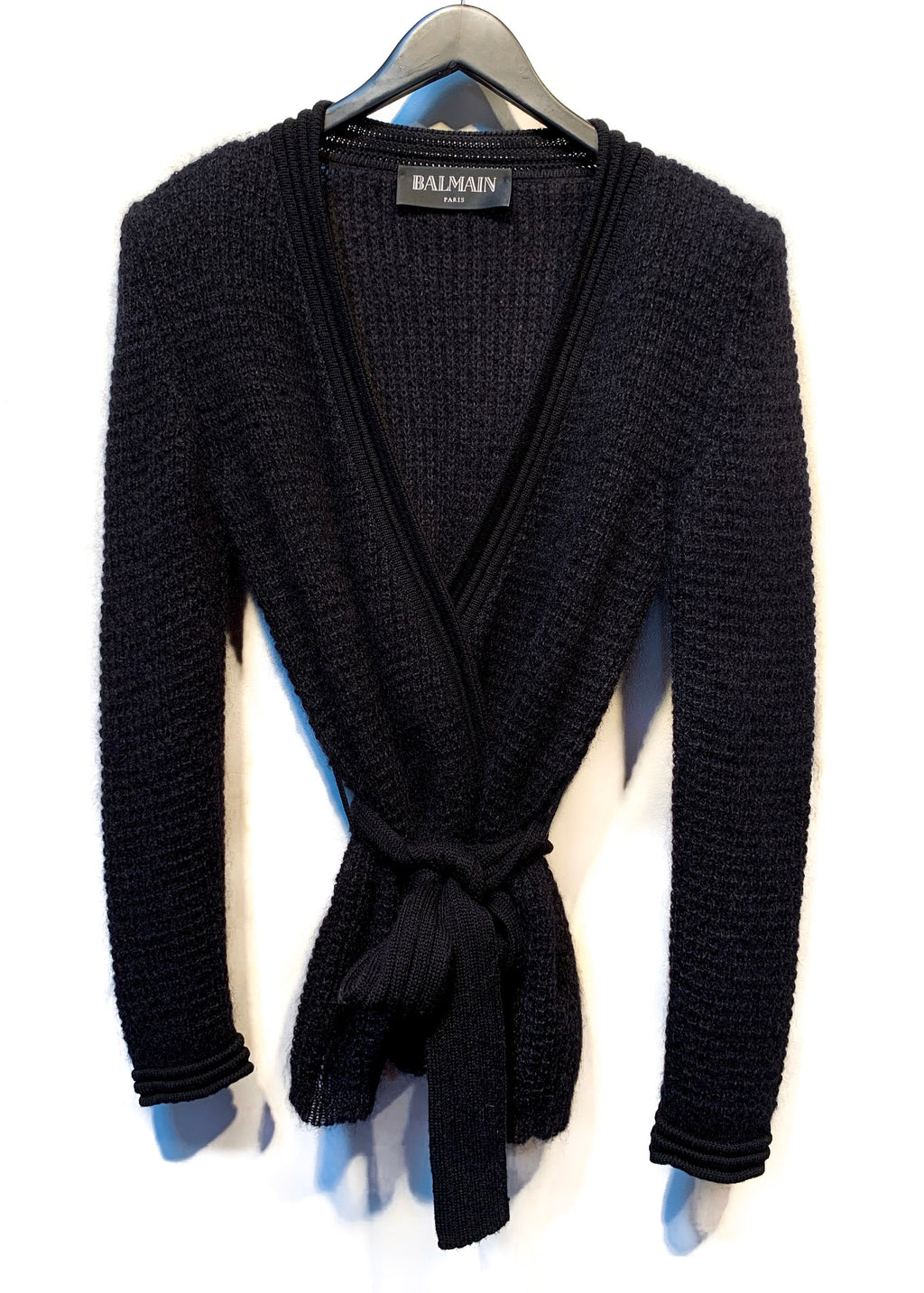 Balmain Black Mohair Blend Wrap Belted Cardigan
