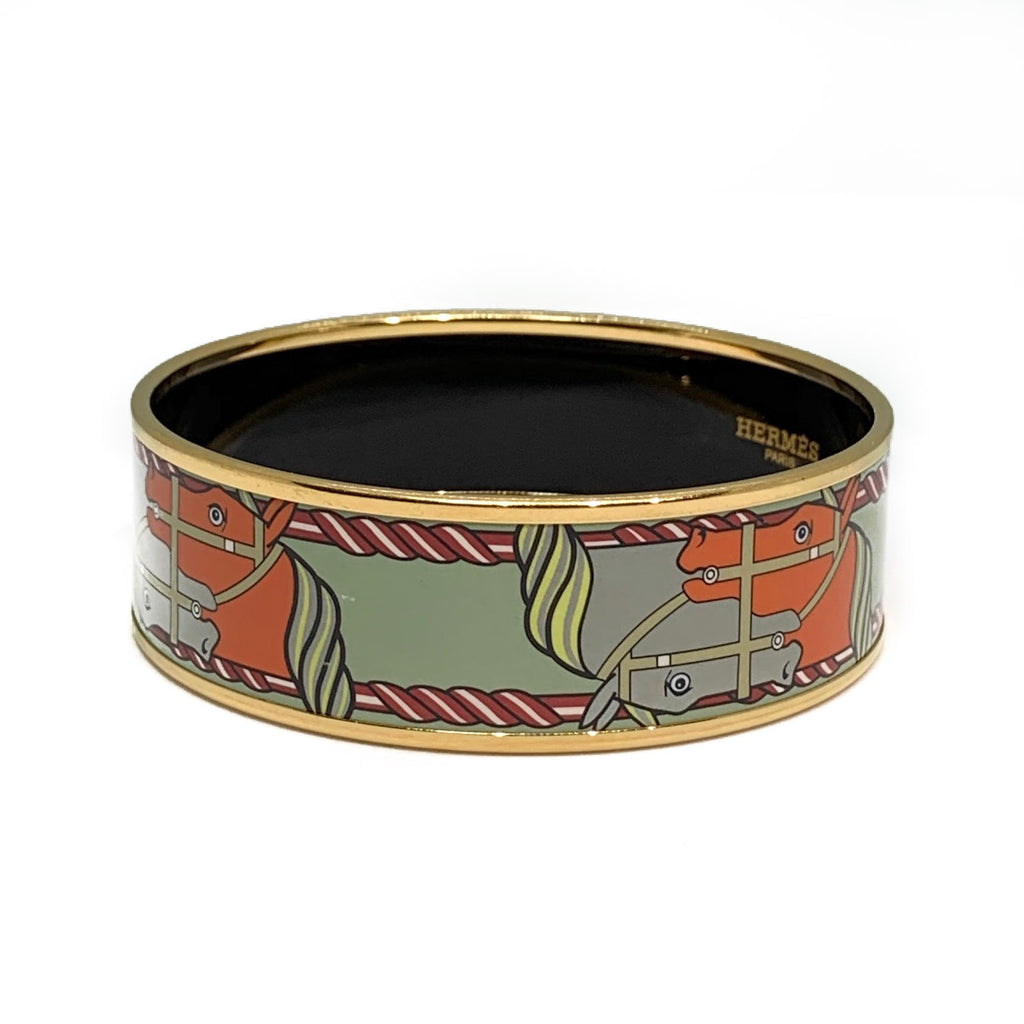 "Hermès Light Green Horse ""Quadrige"" Enamel Bangle"