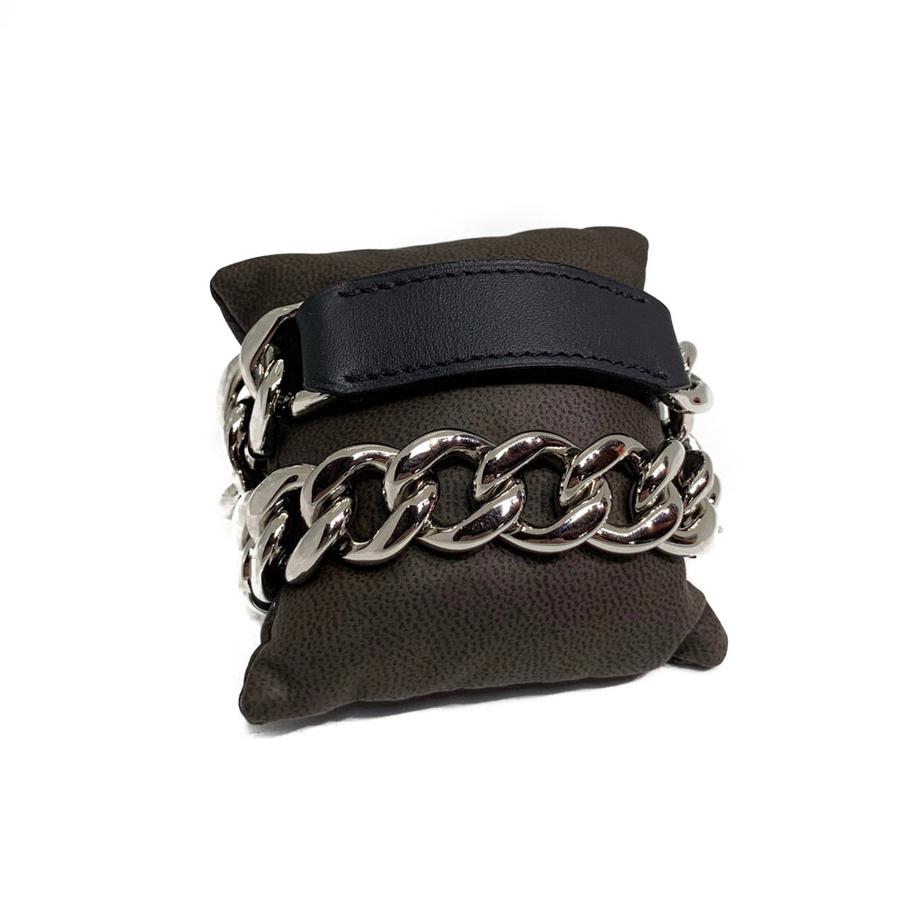 Hermès Black Leather And Chain Wrap Bracelet