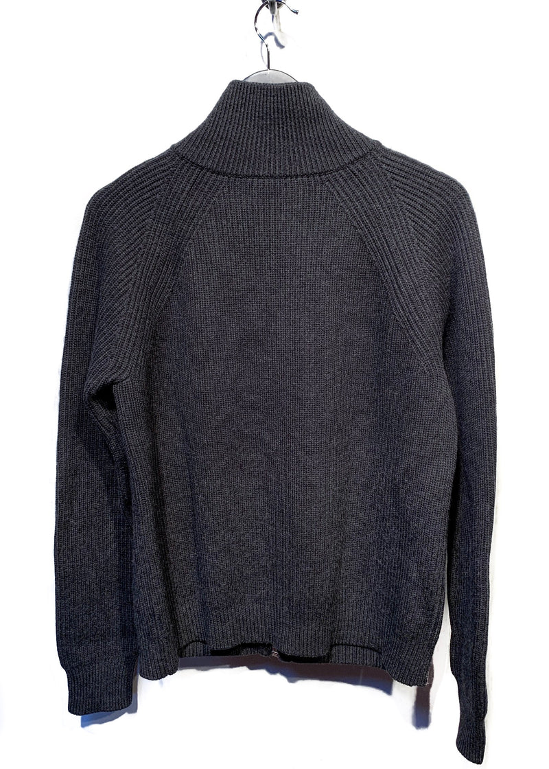 Kris Van Assche Grey Wool Ribbed Zip-up Pocketed Sweater