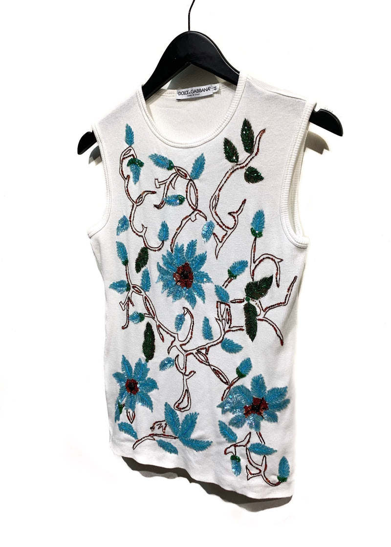Dolce & Gabbana White Ribbed Flower Sequin Embroidered Tank Top