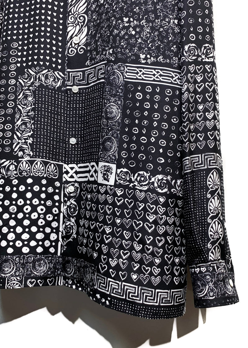 Versace Black White Bandana Print Silk Buttoned Shirt