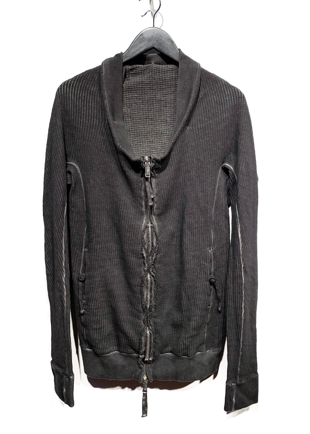 Boris Bidjan Saberi Grey Cotton Ribbed Zip-up Pocketed Sweater