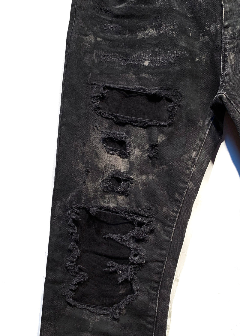Faith Connexion Black Destroyed Paint Splattered Washed Black Jeans