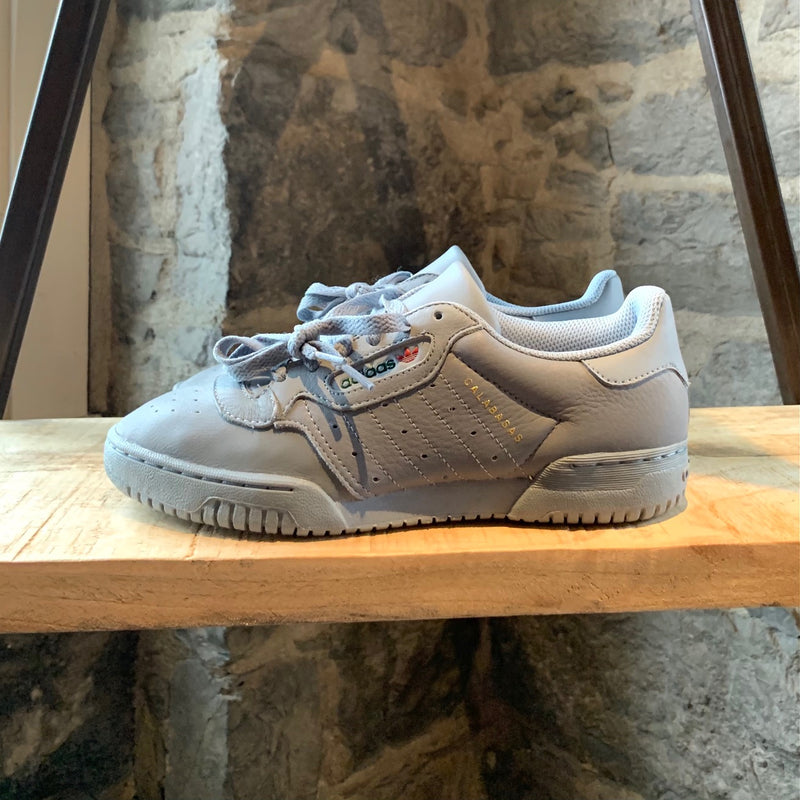Adidas Calabasas Grey Blue Powerphase Leather Low-Top Sneakers