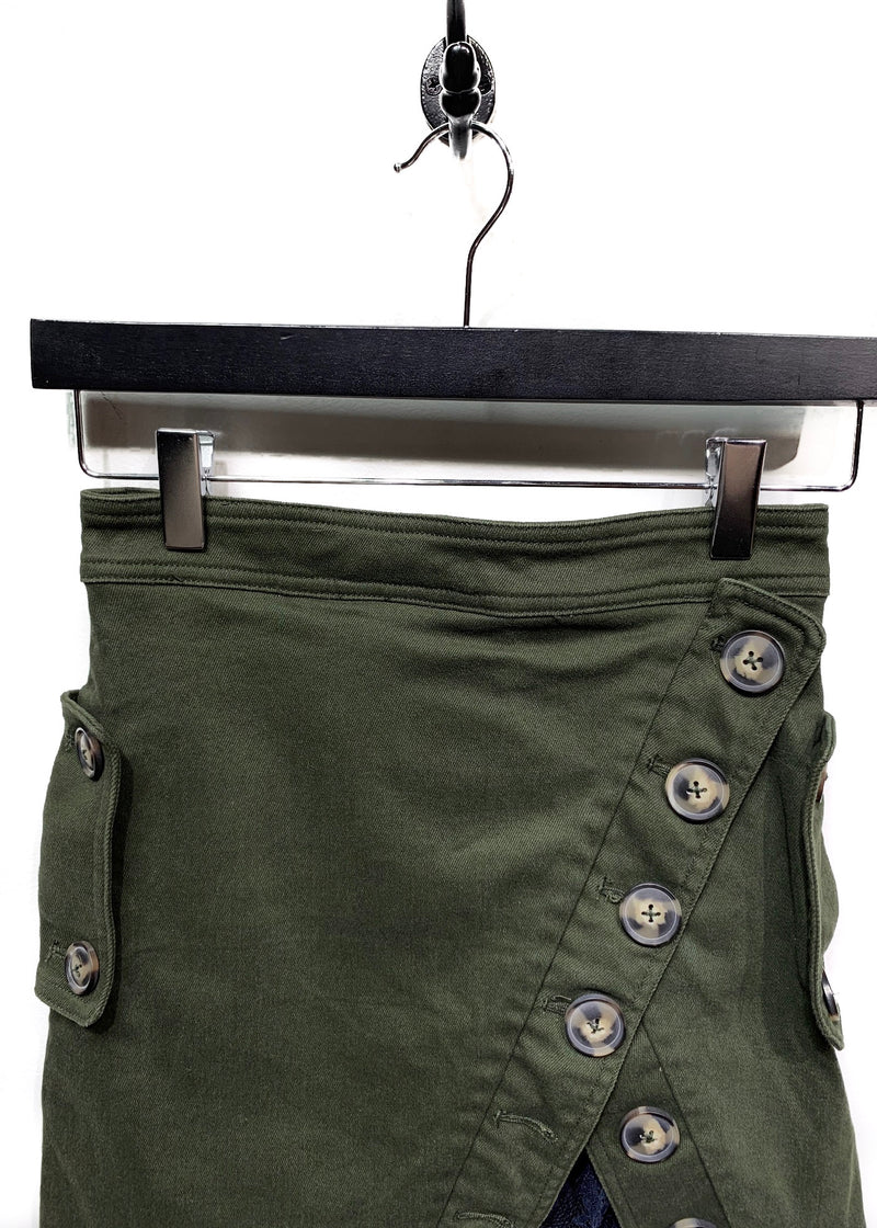 Self-Portrait Green Utility Mini Skirt with Lace Details