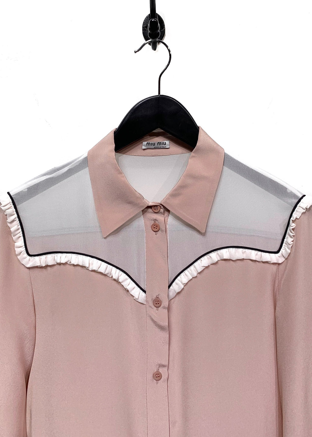 Miu Miu Dusty Pink Western Silk Button Shirt