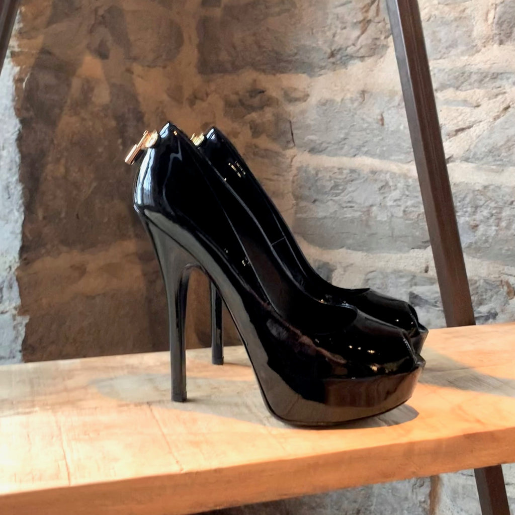 Louis Vuitton Black Patent Oh Really Platform Heels