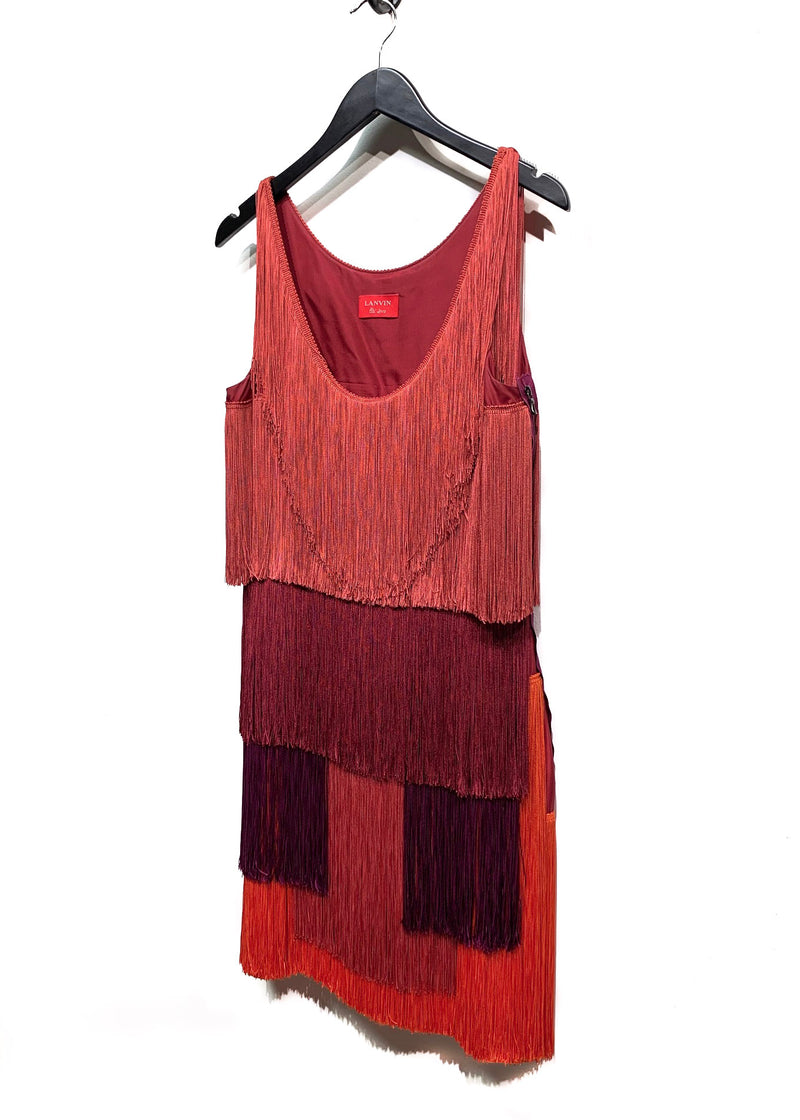 Lanvin Multicoloured Geometric Tassel Dress