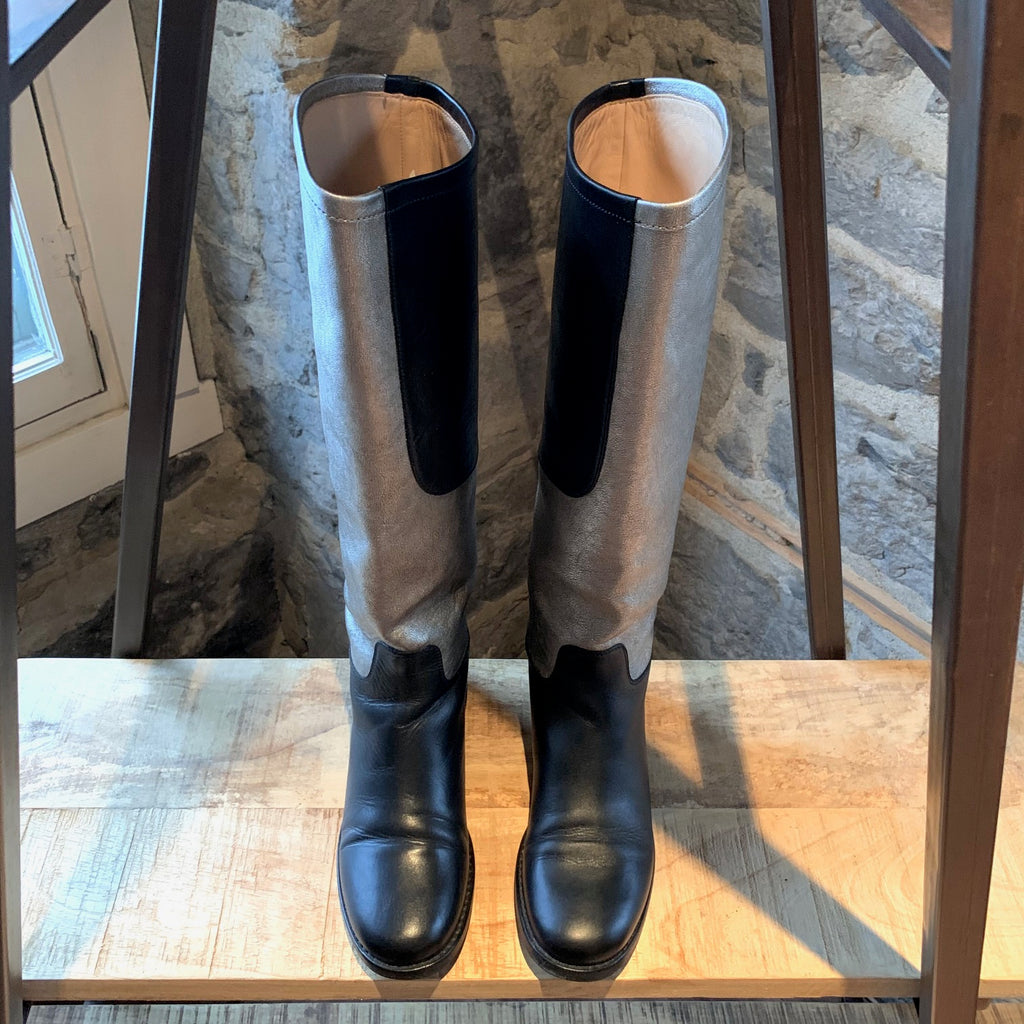Chanel Black Silver Bicolour CC Knee High Riding Boots