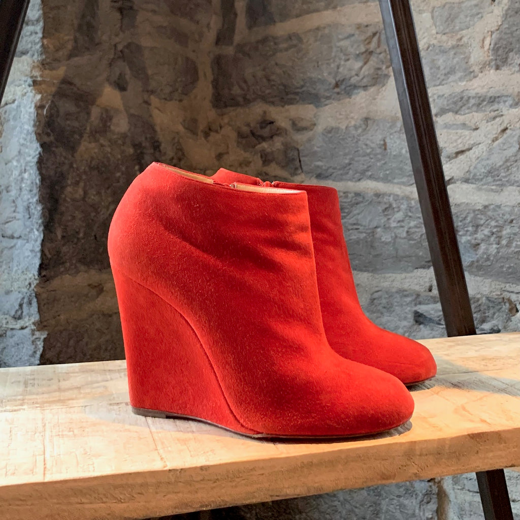 Christian Louboutin Red Suede Belle Zeppa Booties