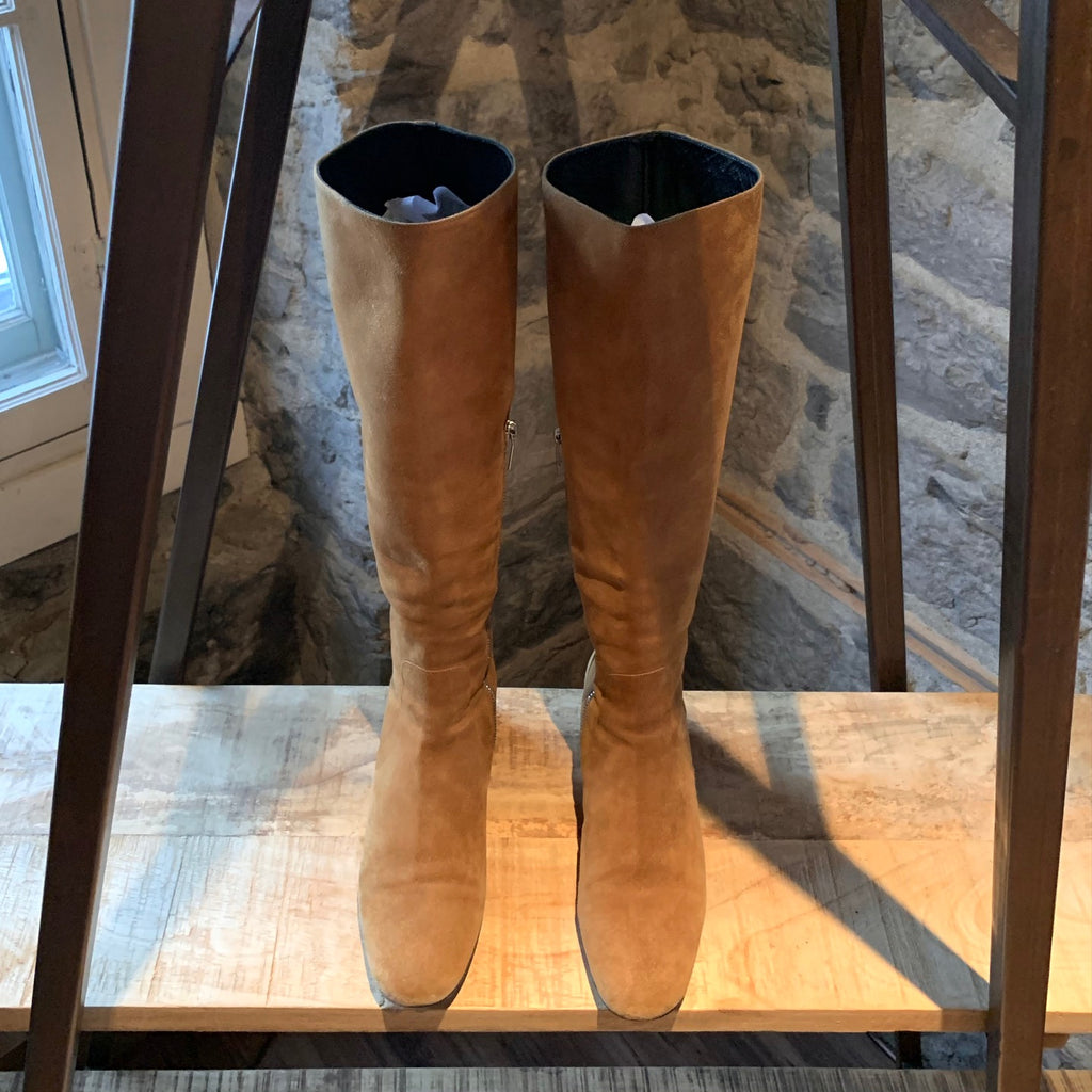 Saint Laurent Brown Suede Riding Boots