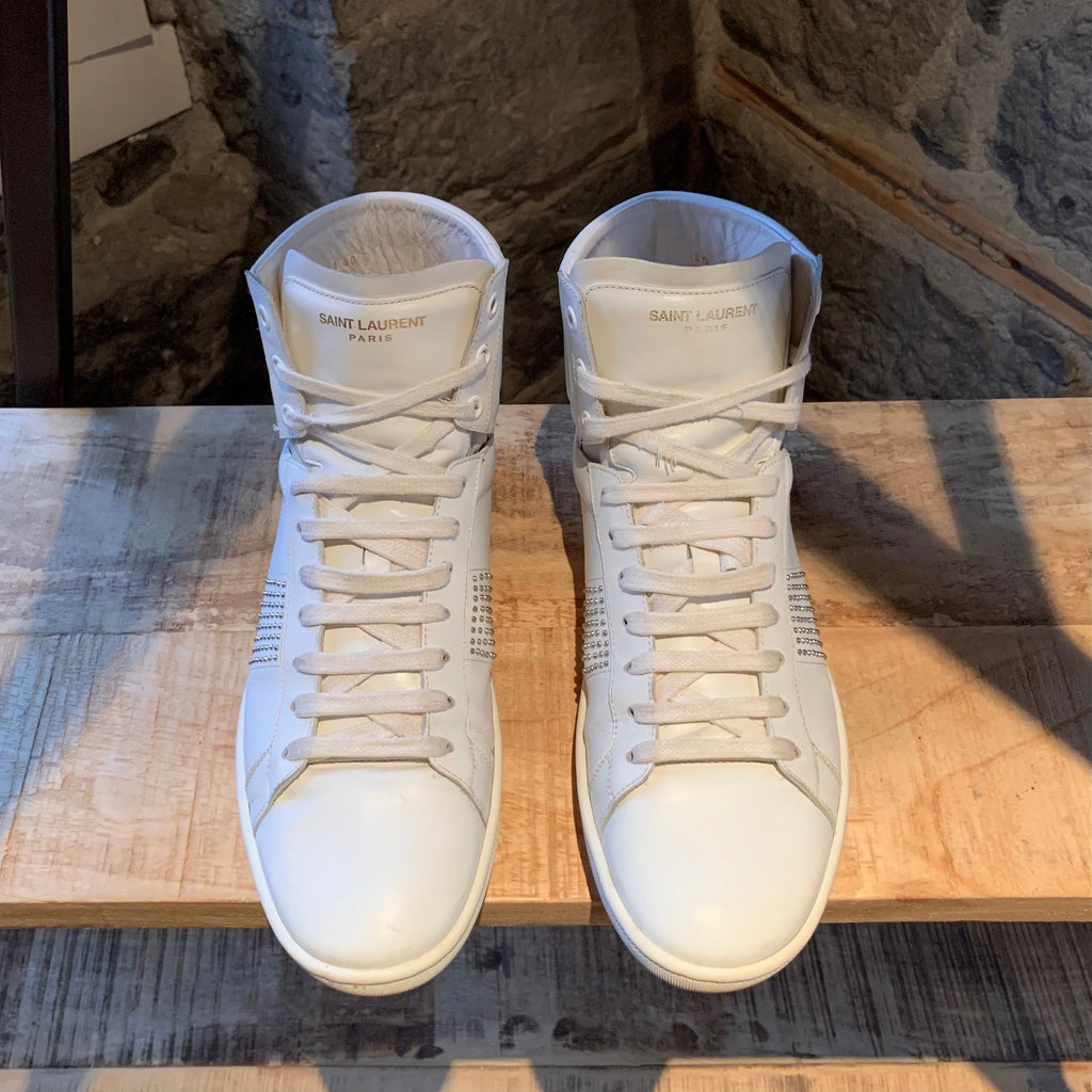 Saint Laurent White SL 01 Studded High-top Sneakers