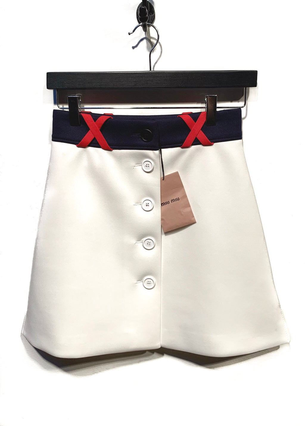Miu Miu Ponte Ivory Buttoned Skirt Gonna Techno Mini Skirt