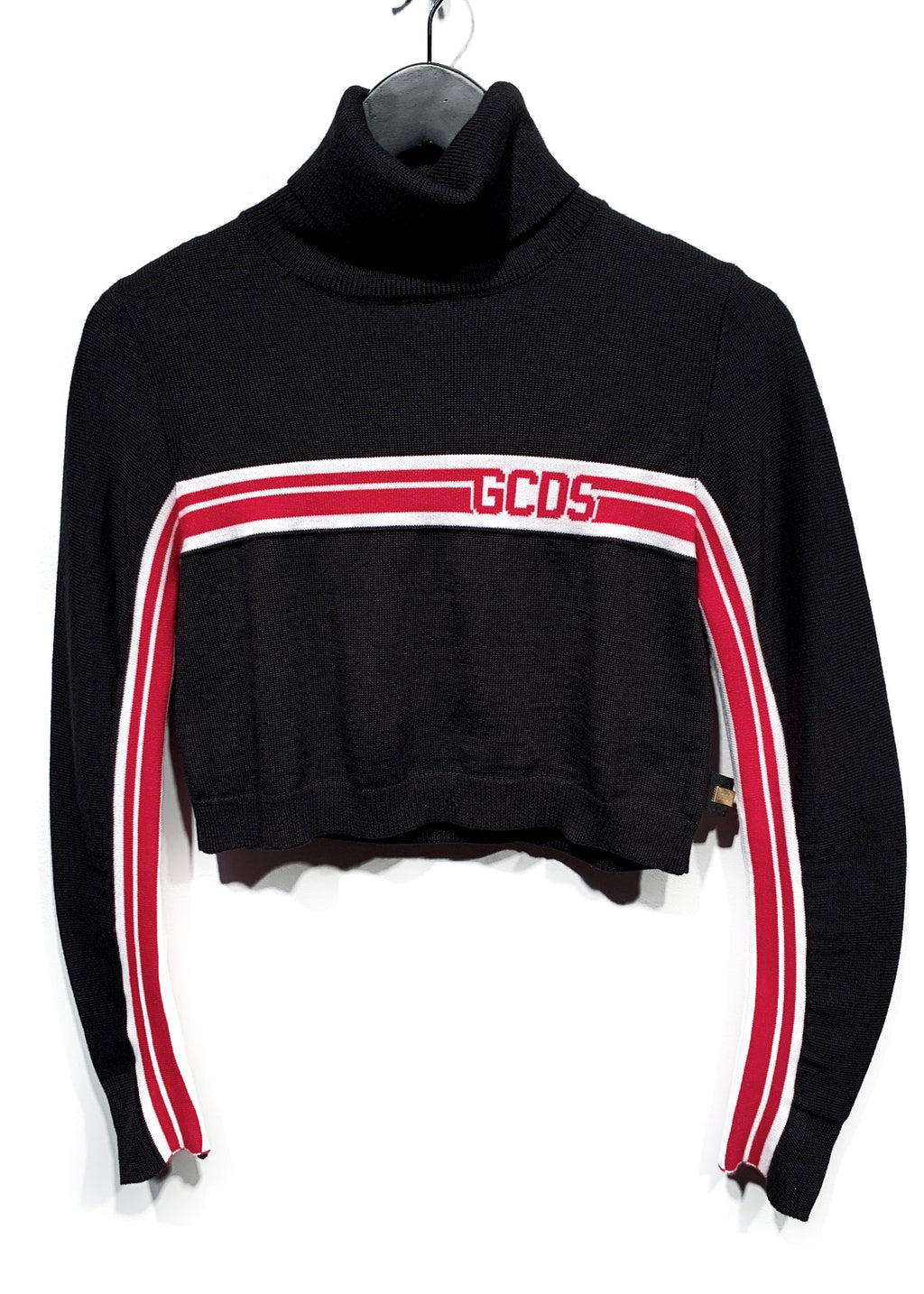 GCDS Black Striped Cropped Turtleneck Sweater