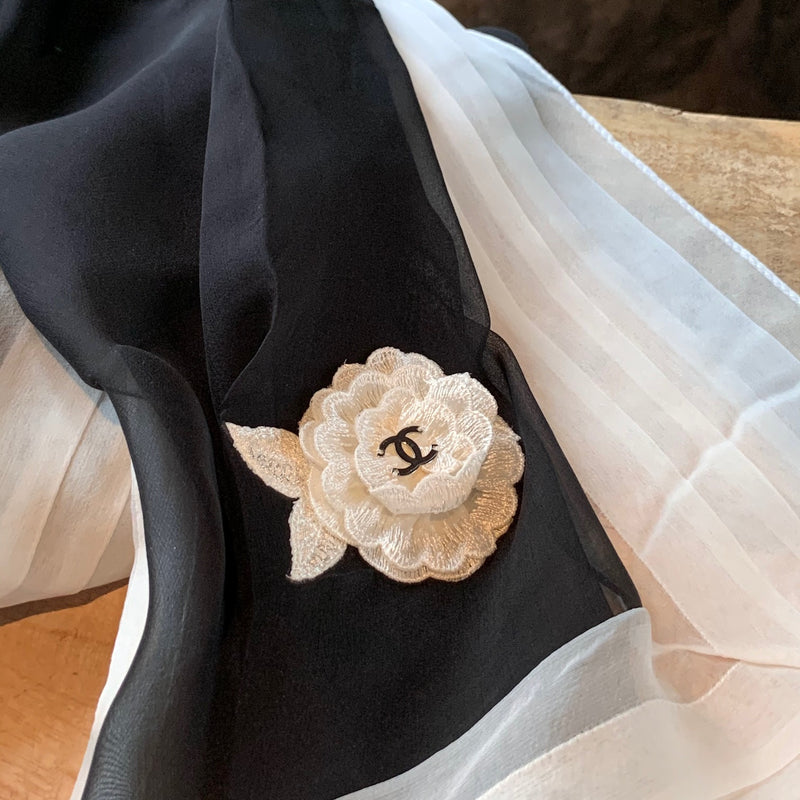 Chanel Black Ivory Flower Embroidered Chiffon Silk Scarf