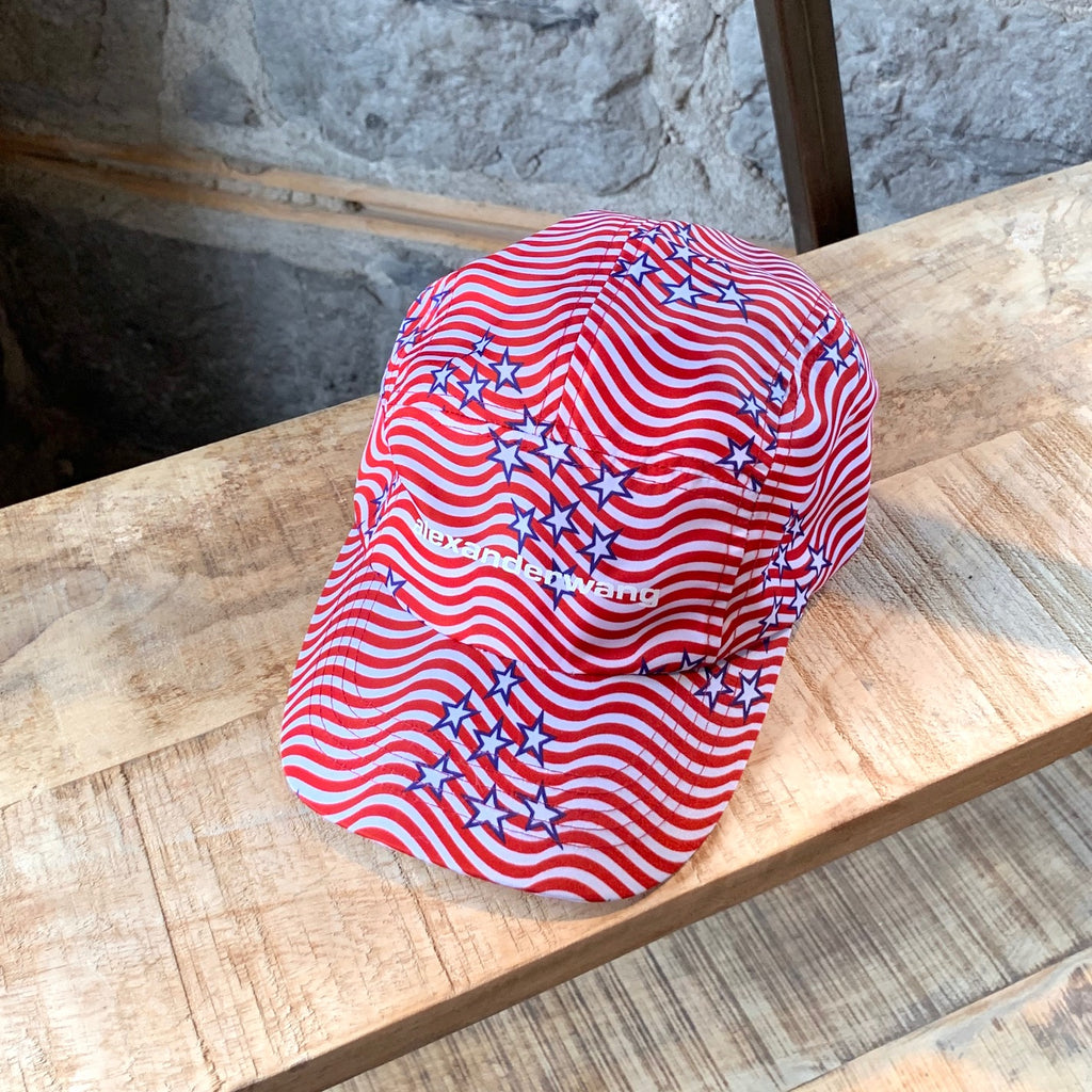 Alexander Wang Red White Wave Striped Star Flag Printed Baseball Cap