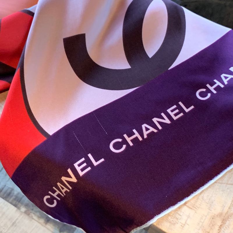 Chanel Pink Red Purple Logo Rectangular Scarf