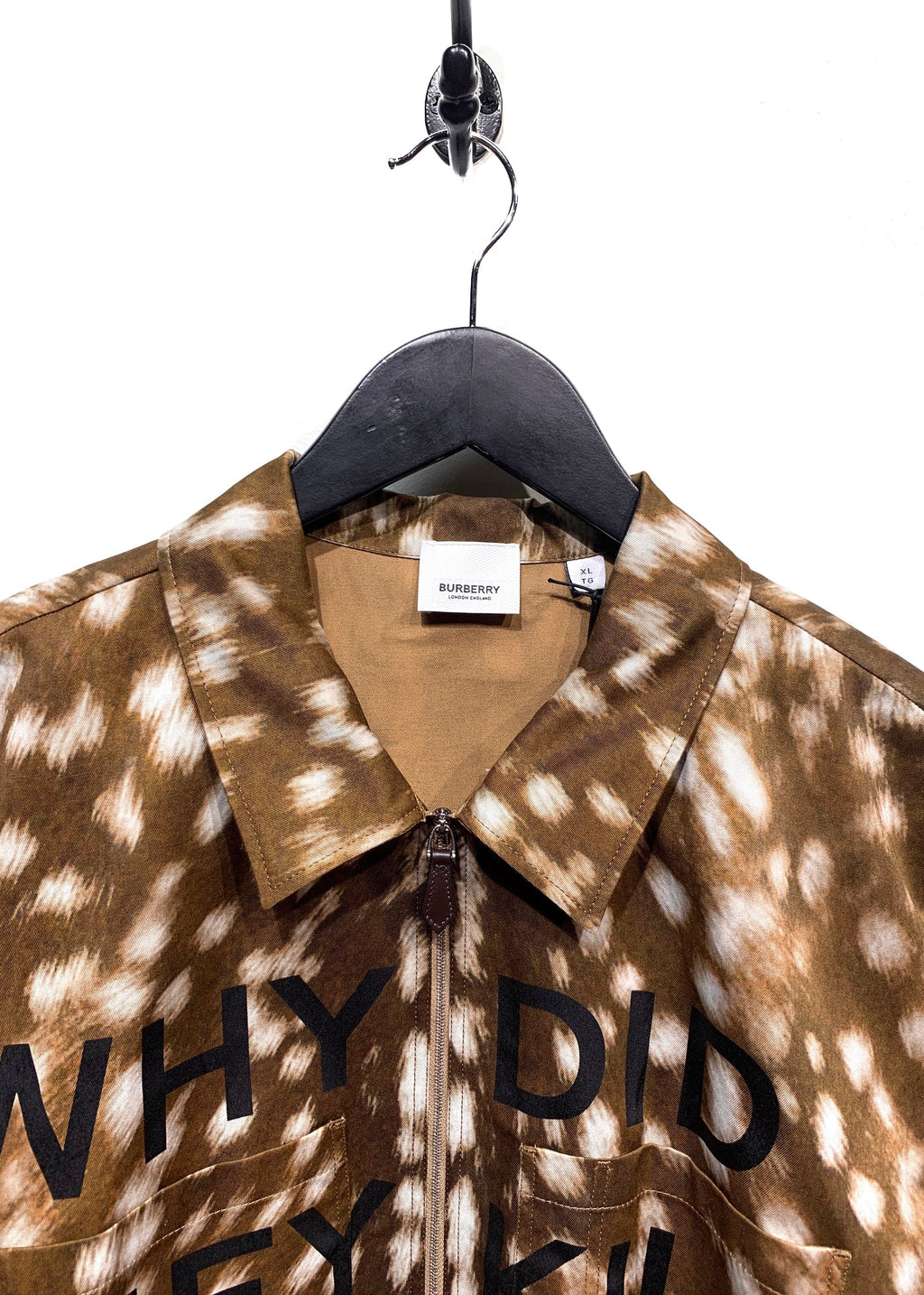 "Burberry SS19 Runway Deer Printed ""Why did they kill Bambi?"" Half-Zip SS Shirt"