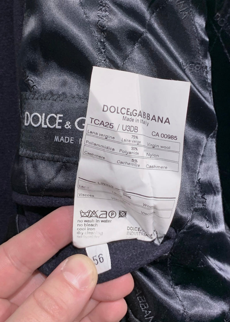 Dolce & Gabbana Navy Wool Peacoat Jacket