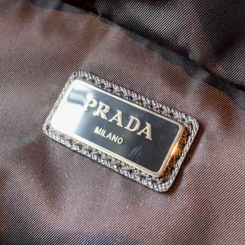 Prada Black White Printed Zippered Tessuto Nylon Waist Belt Pouch Bag