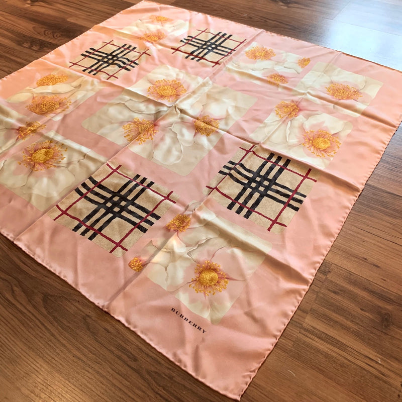 Burberry Pink Floral Iconic Check Silk Scarf