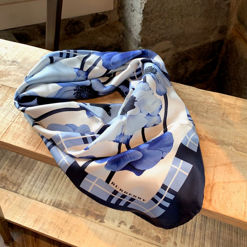 Burberry Blue Floral Checkered Silk Scarf