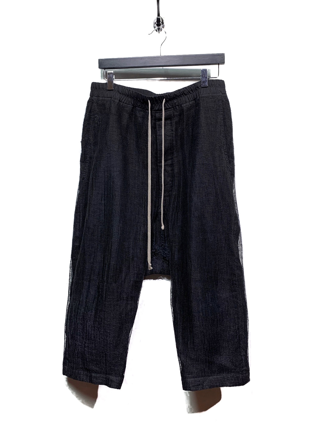 Rick Owens Black Mesh Overlay Linen Dropped Crotch Cropped Trousers