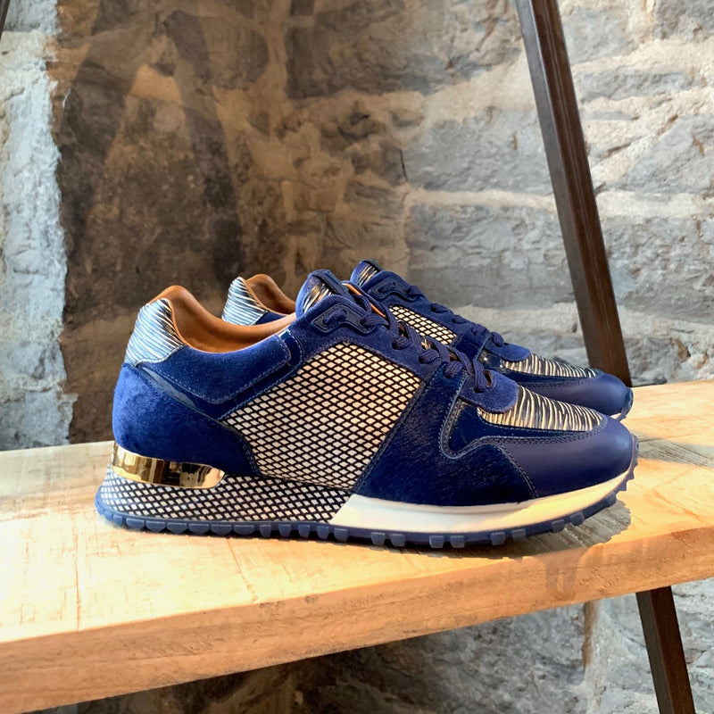 Louis Vuitton Cobalt Run Away Diamond Pony Cloth Sneakers
