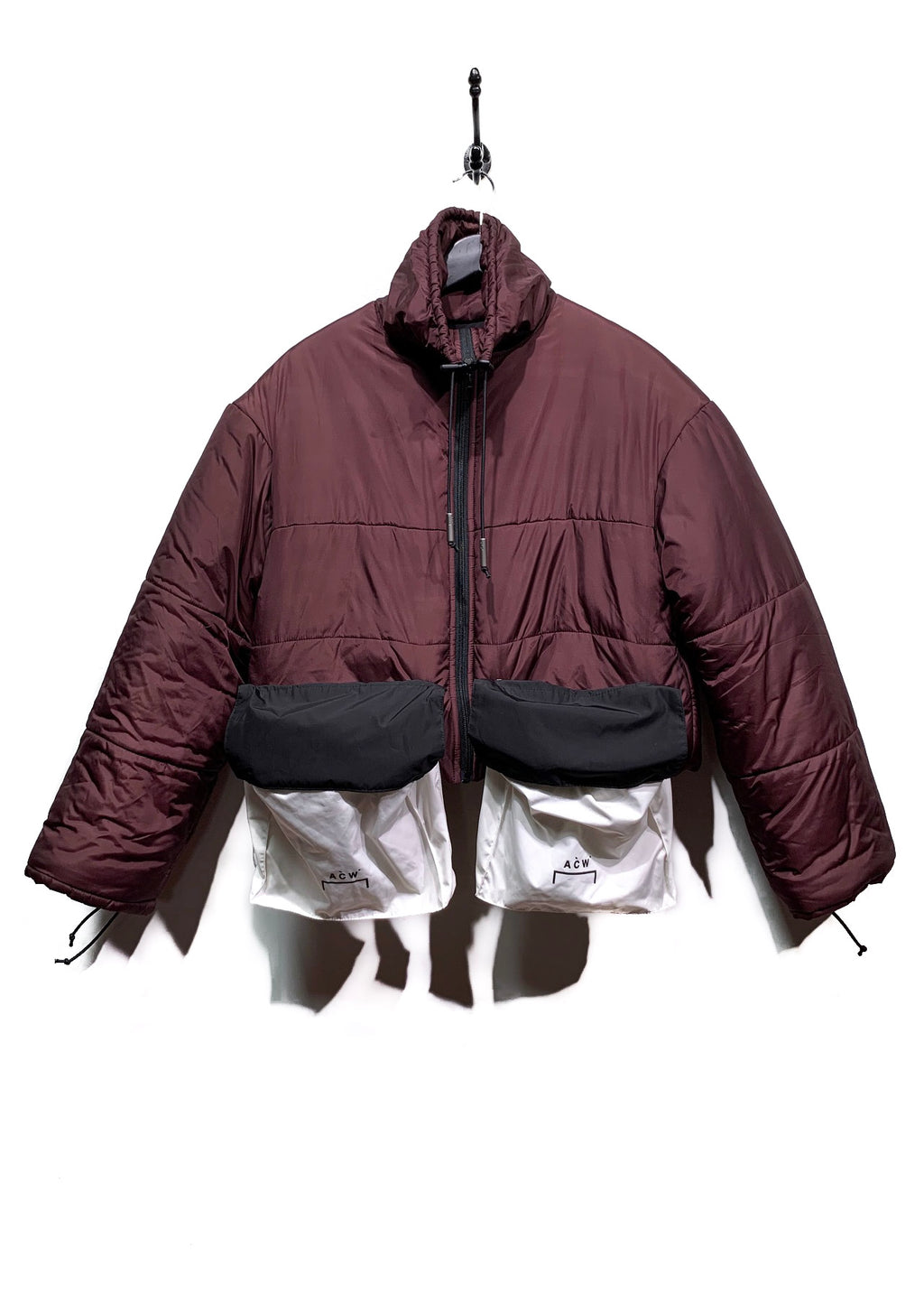 A-COLD-WALL* Burgundy Oversized Pockets Cropped Puffer Coat
